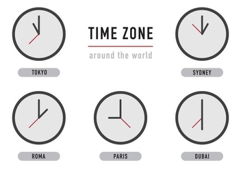Time Zone Clocks - vector gratuit #365733