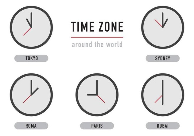 Time Zone Clocks - Kostenloses vector #365733