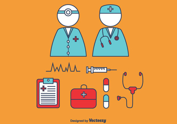 Doctor and Nurse Vector Set - Kostenloses vector #366093