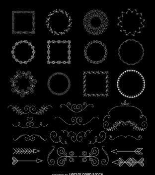 Hand drawn ornaments set - vector gratuit #366163