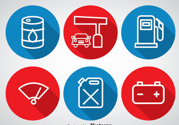 Gas Pump Circle Icons - бесплатный vector #366283