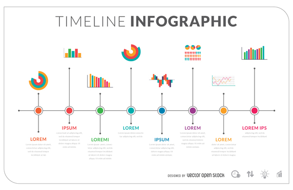 flat timeline infographic template free vector download 366333