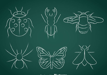 Insects Chalk Drawn Icons - Free vector #366393
