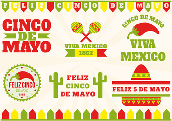 Cinco de Mayo Label Set - бесплатный vector #366523