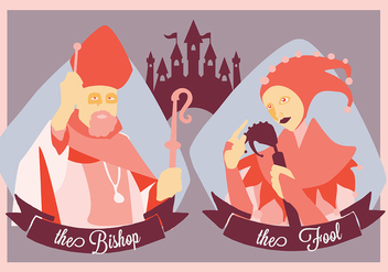 Free Medieval People The Bishop and The Fool Vector Illustration - Kostenloses vector #366603