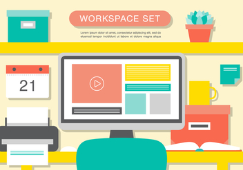 Free Modern Office Interior Vector Background - Free vector #367153