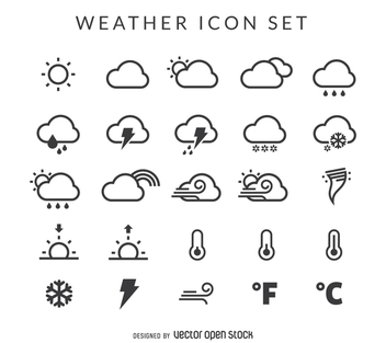 Weather icon set - vector #367573 gratis