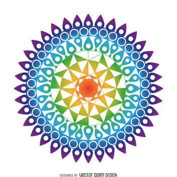 Colorful mandala drawing - Free vector #367583
