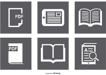 Book, Ereader Icon Set - vector gratuit #367703