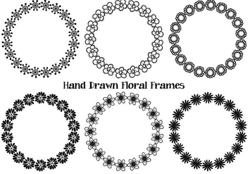 Hand Drawn Style Flower Frames - vector gratuit #367803