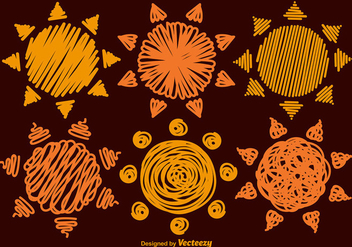 Set Of 6 Hand-drawn Vector Suns - Free vector #368023