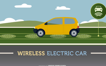 Wireless electric car - Free vector #368053