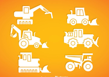 Construction Vehicle White Icons vector - бесплатный vector #368293