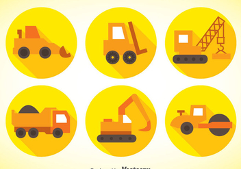 Construction Machinery Flat Icons - vector #368303 gratis