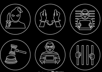 Criminal Outline Icons Vector - vector #368343 gratis