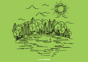 Outdoor River Scene Vector Background - vector #368473 gratis