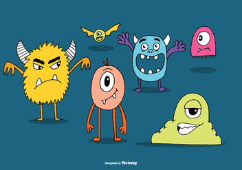 Cute Monster Vectors - vector gratuit #368583