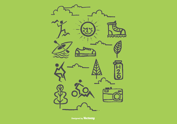 Hand Drawn Outdoor Recreation Icon Vectors - бесплатный vector #368603