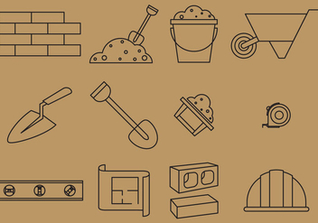 Bricklayer Line Icons - бесплатный vector #368623