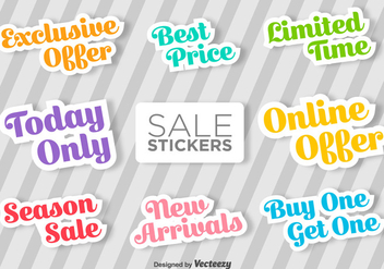 Typographic Sale Vector Stickers - vector gratuit #368763