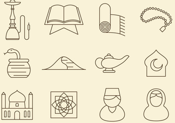 Middle East Line Icons - vector #368883 gratis