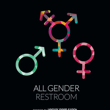 All genders restroom label - vector gratuit #369183