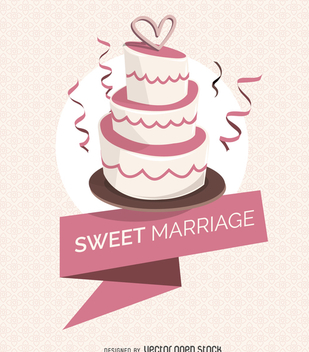 Wedding cake with ribbon - Free vector #369203