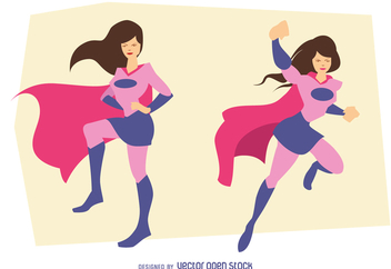 Superhero woman poses drawing - Free vector #369483