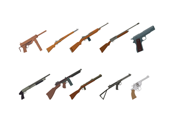 Free World War 2 Gun Vectors - Free vector #369653