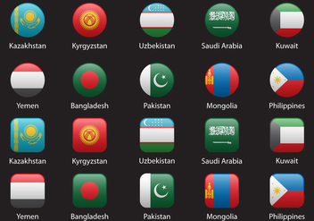 Asia Flags Set 2 - vector #369703 gratis