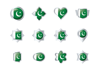 Free Pakistan Flag Badge Vectors - бесплатный vector #369713