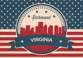 Richmond Virginia Retro Skyline Illustration - бесплатный vector #369723