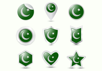 Free Pakistan Flag Realistic Badge Vectors - бесплатный vector #369793