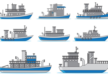 Set Of Tugboat Vector - Free vector #370163