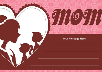 Mother and Children Silhouette Card Vector - Free vector #370213