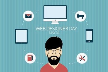 Flat design web designer day - vector gratuit #370243