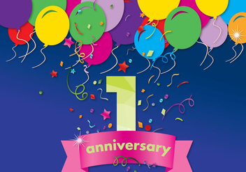 First Anniversary Vector Card - vector gratuit #370333