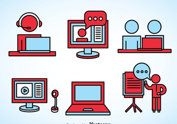 Webinar Element Icons - vector gratuit #370343