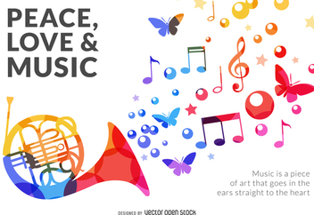 Colorful music sign - vector gratuit #370673