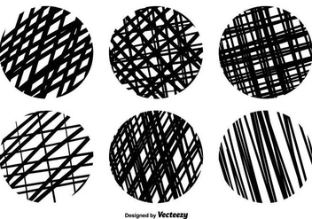 Vector Crosshatch Round Texture Set - Free vector #370913