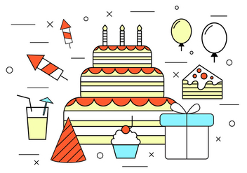 Birthday Vector Icons - Kostenloses vector #370953