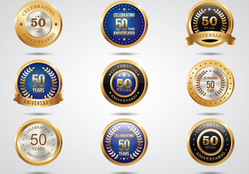 Free Aniversario Golden Labels - vector gratuit #371063