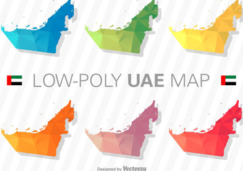 United Arab Emirates Map Silhouette Vector Set - Free vector #371183