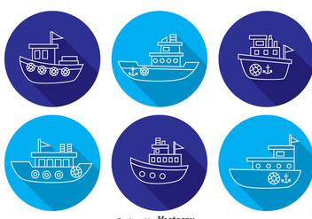 Boats Long Shadow Icons - Free vector #371323