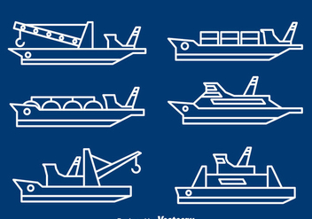 Ships And Boats Line Vector - vector gratuit #371373