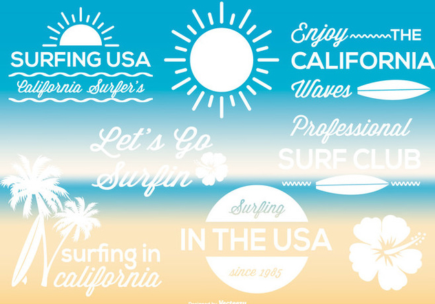 Surf Label Set - vector gratuit #371383