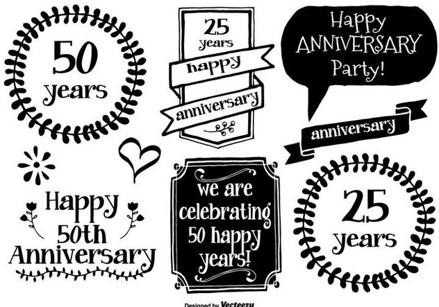 Hand Drawn Anniversary Labels - vector gratuit #371403