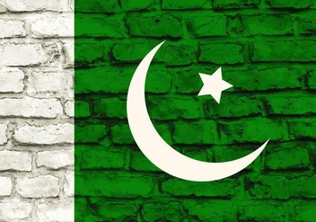 Free Vector Pakistan Flag Painted On Brick Wall - Free vector #371733