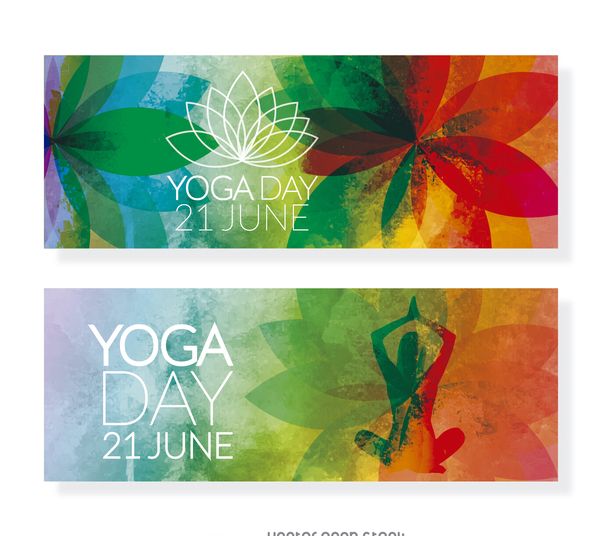 2 Yoga Day horizontal banners - Free vector #371953