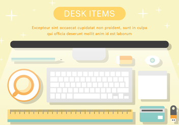 Free Desk Items Vector Illustration - бесплатный vector #372143
